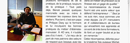 Article dans un journal local